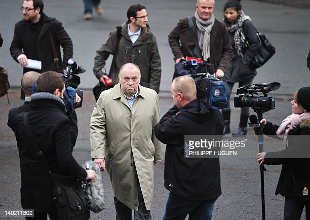Dominique Alderweireld known as Dodo la Saumure talks to the media as he arrives for his hearing at the Tournai justice palace on March 1 2012 Dodo...