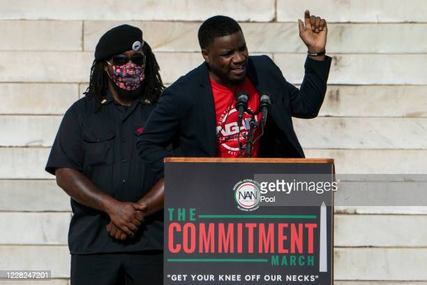 Dominique Alexander, right, President and Founder of Next Generation Action Network, speaks during the March on Washington at the Lincoln Memorial on...