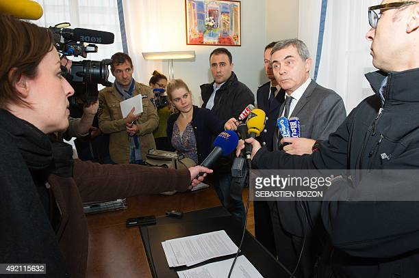 Dominique Alzeari prosecutor of Mulhouse gives a press conference in his office in Mulhouse on October 10 on the case of a man who had sequestered...