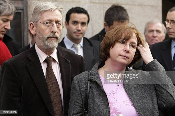 Dominique and JeanFrancois Delagrange the parents of murdered French student Amelie Delagrange address the press outside the Central Criminal Courts...