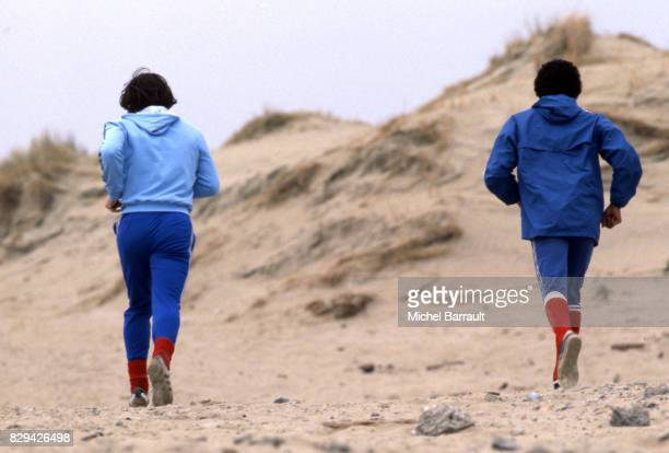 Dominique Bathenay and Omar Sahnoun of France during the stage of Team France at Le Touquet before the World Cup 1978 on 30th April 1978