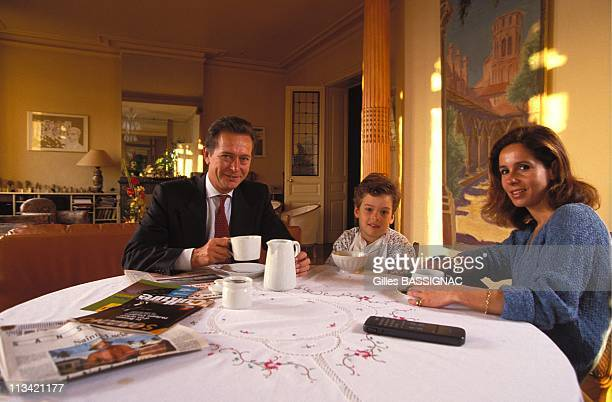 Dominique Baudis In Toulouse On January 16th, 1993 - - At Home With Wife Lsabelle And Son Pierre