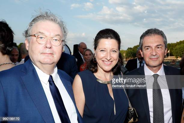 Dominique Besnehard Agnes Buzyn and Yves Levy attend Line Renaud's 90th Anniversary on July 2 2018 in Paris France