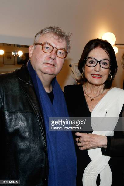 Dominique Besnehard and Nana Mouskouri attend Nana Mouskouri Forever Young Tour 2018 at Salle Pleyel on March 8 2018 in Paris France