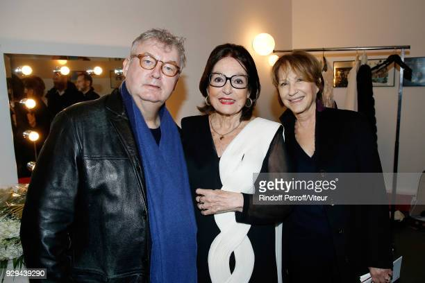 Dominique Besnehard Nana Mouskouri and Nathalie Baye attend Nana Mouskouri Forever Young Tour 2018 at Salle Pleyel on March 8 2018 in Paris France