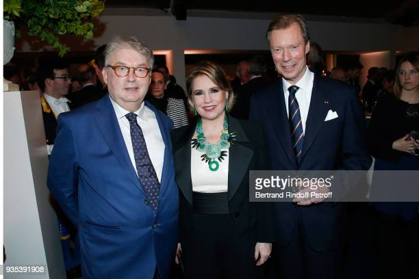 Dominique Besnehard with LLAARR GrandDuc Henri and GrandeDuchesse Maria Teresa of Luxembourg attend the Reception given by LLAARR GrandDuc Henri of...