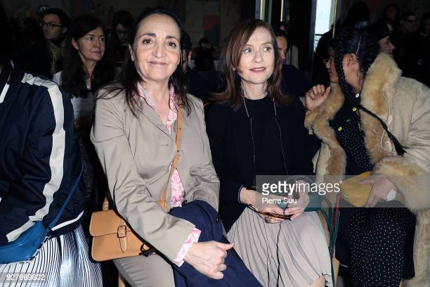 Dominique Blanc and Isabelle Huppert attend the Agnes B show as part of the Paris Fashion Week Womenswear Fall/Winter 2018/2019 on March 5 2018 in...