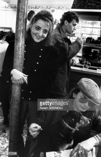 Dominique Blanc At The Street Wine Bar Rue Boulard January 1989