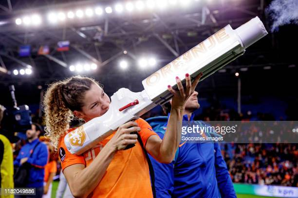 Dominique Bloodworth of Holland Women celebrates the victory during the EURO Qualifier Women match between Holland v Slovenia at the GelreDome on...