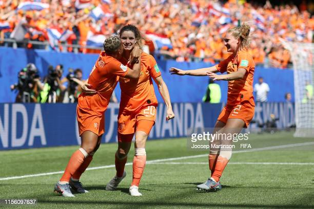 Dominique Bloodworth of the Netherlands celebrates with teammate Shanice Van De Sanden after scoring her team's second goal during the 2019 FIFA...