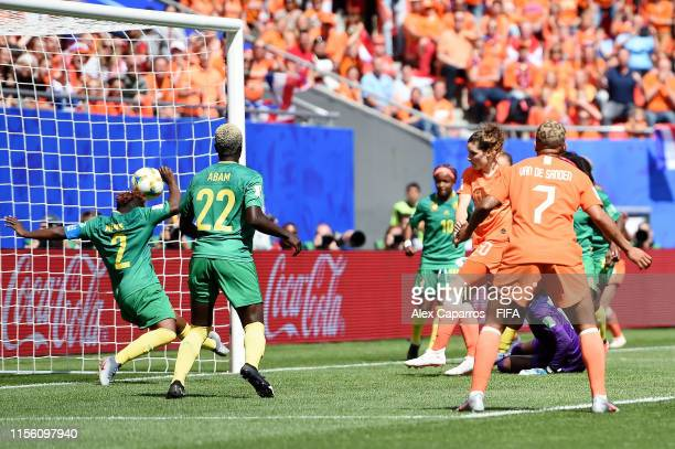 Dominique Bloodworth of the Netherlands scores her team's second goal during the 2019 FIFA Women's World Cup France group E match between Netherlands...