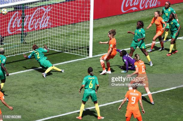 Dominique Bloodworth of the Netherlands scores their 2nd goal during the 2019 FIFA Women's World Cup France group E match between Netherlands and...