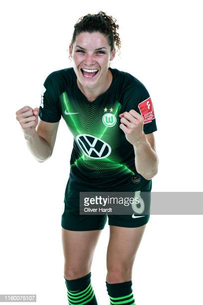 Dominique Bloodworth of VfL Wolfsburg poses during the team presentation during on July 30, 2019 in Wolfsburg, Germany.