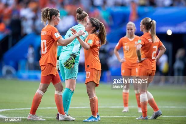 Dominique Bloodworth Sari van Veenedaal Danielle van de Donk and Desiree van Lunteren react after the 2019 FIFA Women's World Cup France Final match...