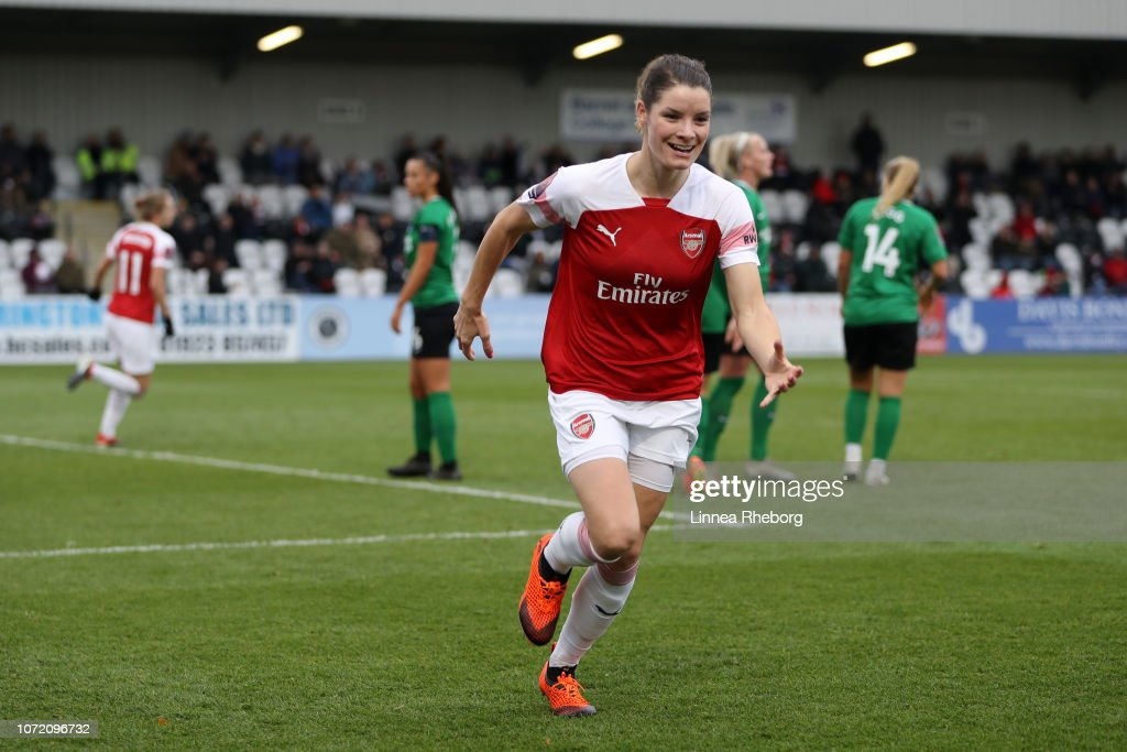 Dominique Bloodwoth Of Arsenal Celebrates After Scoring Her
