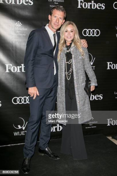 Dominique Busso and Anastasia Soare attends the launch of 'Forbes Magazine' France at Hotel Meurice on October 5 2017 in Paris France