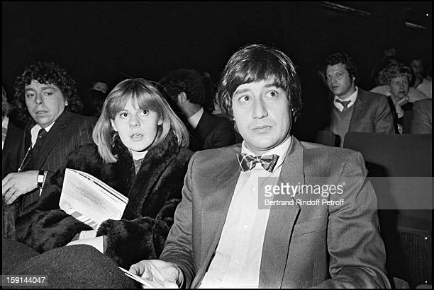 Dominique Cantien and Patrick Sabatier attend the concert of singer Herve Vilard at the Olympia music hall in Paris in 1981