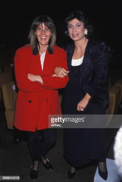 Dominique Cantien et Anne Sinclair lors d'une soirée à Paris en octobre 1989 France