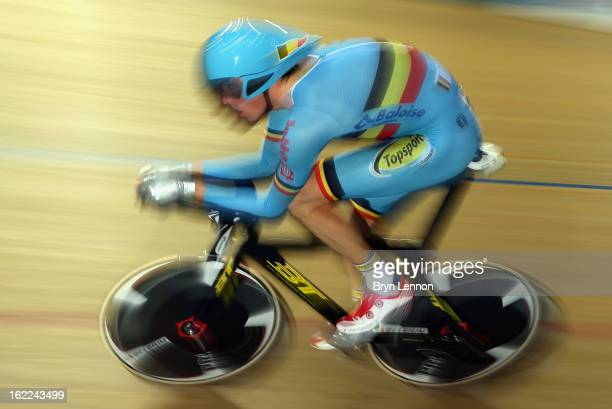 Dominique Cornu of Belgium rides in qualifying for the Men's Individual Pursuit during day two of the UCI Track World Championships at the Minsk...