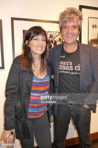 Dominique Davalos and Clem Burke pose for a portrait at the Chris Stein photo exhibit at the Morrison Hotel Gallery at the Sunset Marquis Hotel in...