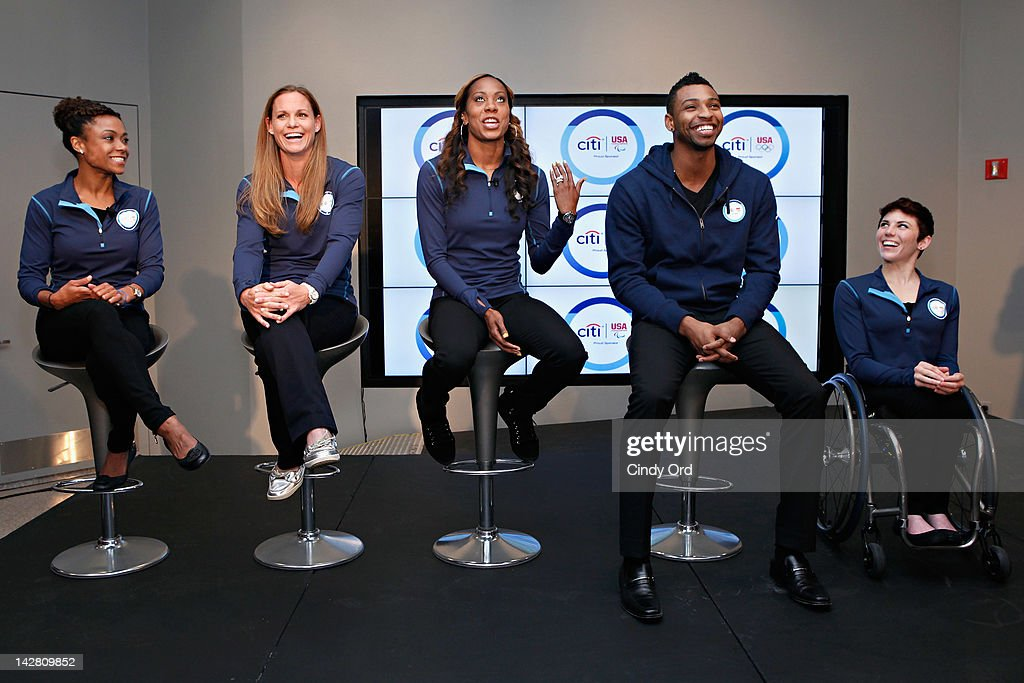 Dominique Dawes, Christie Rampone, Sanya Richards-Ross, Cullen Jones, and Amanda McGrory attend the Citi's Team USA Sponsorship Launch at Citibank on April 12, 2012 in New York City.
