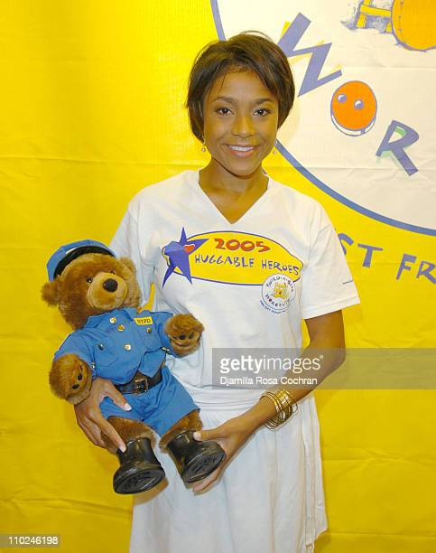 Dominique Dawes with a BuildABear Worshop Bear during BuildABear Workshop Opens Fifth Avenue Flagship Store at 565 Fifth Avenue in New York City New...