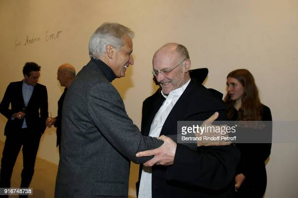 Dominique de Villepin and Anselm Kiefer attend the 'Fur Andrea Emo' Anselm Kiefer's Exhibition at Thaddeus Ropac Gallery on February 10 2018 in Paris...