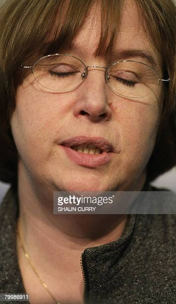 Dominique Delagrange the mother of murdered French student Amelie Delagrange is pictured at a press conference in London on February 25 2008 Wheel...