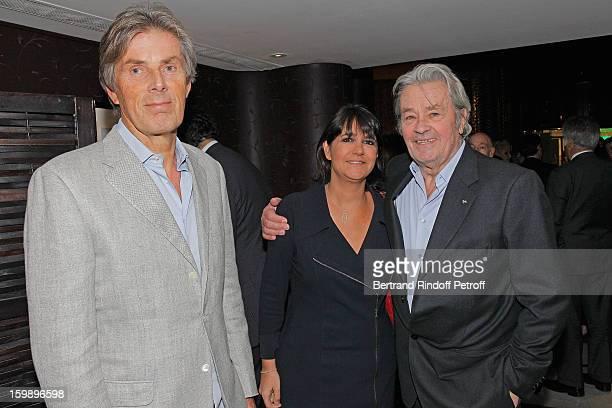 Dominique Desseigne Valerie Expert and Alain Delon attend 'La Petite Maison De Nicole' Inauguration Cocktail at Hotel Fouquet's Barriere on January...