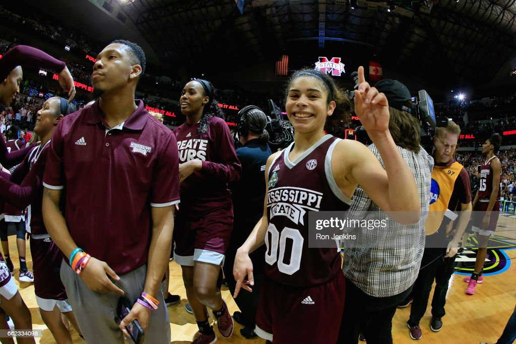 Dominique Dillingham #00 celebrates their 66-64 overtime win against the Connecticut Huskies during the semifinal round of the 2017 NCAA Women's Final Four at American Airlines Center on March 31, 2017 in Dallas, Texas.