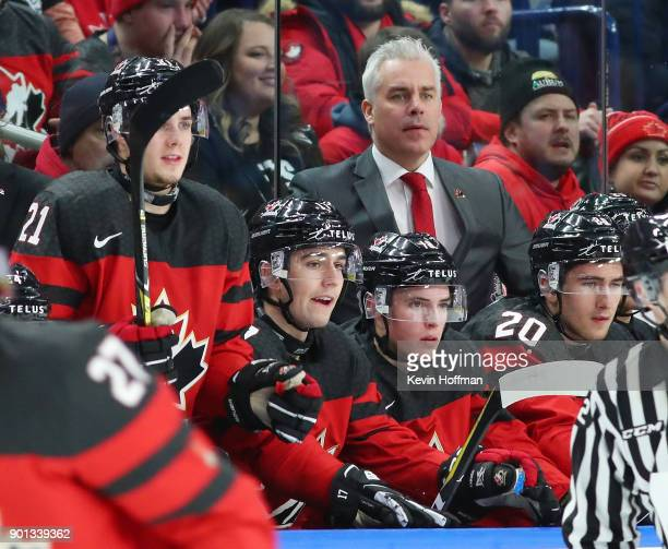 Dominique Ducharme head coach of Canada behind the bench in the first period against Czech Republic during the IIHF World Junior Championship at...