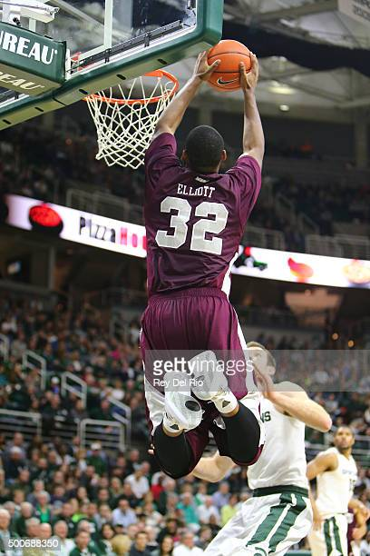 Dominique Elliott of the MarylandEastern Shore Hawks dunks the ball during the game against the Michigan State Spartans in the second half at the...