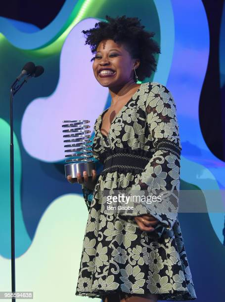 Dominique Fishback accepts award onstage at The 22nd Annual Webby Awards at Cipriani Wall Street on May 14 2018 in New York City