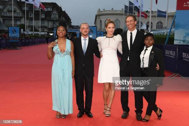 Dominique Fishback Alvaro R Valente Jordana Spiro Matthew Spizer and Tatum Marylin Hall attend Night Comes On film Premiere on September 4 2018 in...