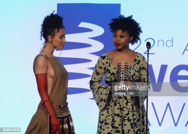 Dominique Fishback presents FKA twigs with an award onstage at The 22nd Annual Webby Awards at Cipriani Wall Street on May 14 2018 in New York City