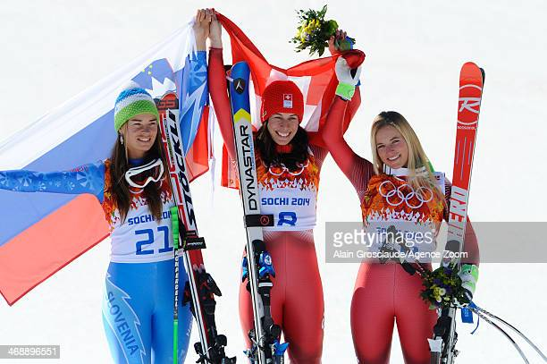 Dominique Gisin of Switzerland and Tina Maze of Slovenia win joint gold medals Lara Gut of Switzerland wins the bronze medal during the Alpine Skiing...