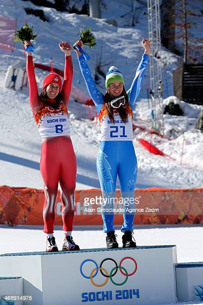 Dominique Gisin of Switzerland and Tina Maze of Slovenia win joint gold medals during the Alpine Skiing Women's Downhill at the Sochi 2014 Winter...