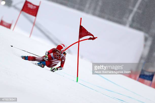 Dominique Gisin of Switzerland competes during the Alpine Skiing Women's Giant Slalom at the Sochi 2014 Winter Olympic Games at Rosa Khutor Alpine...