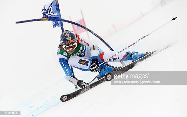 Dominique Gisin of Switzerland competes during the Audi FIS Alpine Ski World Cup Women's Giant Slalom on October 27 2012 in Solden Austria