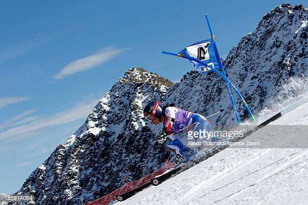 Dominique Gisin of Switzerland competes during the Audi FIS Alpine Ski World Cup Women's Giant Slalom on October 26 2013 in Soelden Austria