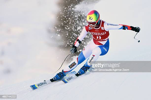 Dominique Gisin of Switzerland competes during the Audi FIS Alpine Ski World Cup Women's SuperG on December 21 2014 in Val d'Isere France