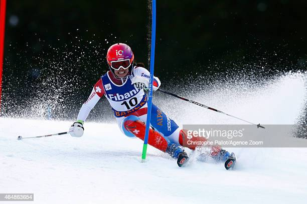 Dominique Gisin of Switzerland competes during the Audi FIS Alpine Ski World Cup Women's Super Combined on March 01 2015 in Bansko Bulgaria