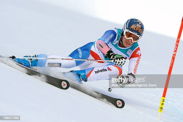 Dominique Gisin of Switzerland competes during the inspection of the Audi FIS Alpine Ski World Cup Women's Giant Slalom on December 09 2012 in St...