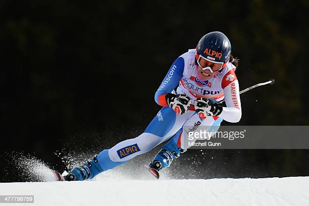 Dominique Gisin of Switzerland competing in the Audi FIS Alpine Skiing World Cup Finals downhill training on March 11 2014 in Lenzerheide Switzerland