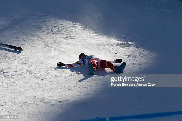 Dominique Gisin of Switzerland falls during the Women's Alpine Skiing Downhill on Day 6 of the 2010 Vancouver Winter Olympic Games on February 17,...