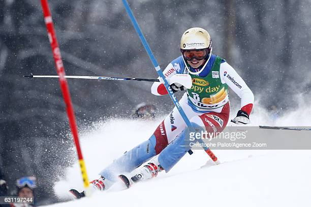 Dominique Gisin of Switzerland in action during the Audi FIS Alpine Ski World Cup Women's Slalom on January 08 2017 in Maribor Slovenia