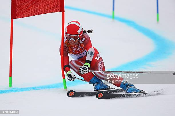 Dominique Gisin of Switzerland makes a run during the Alpine Skiing Women's Giant Slalom on day 11 of the Sochi 2014 Winter Olympics at Rosa Khutor...