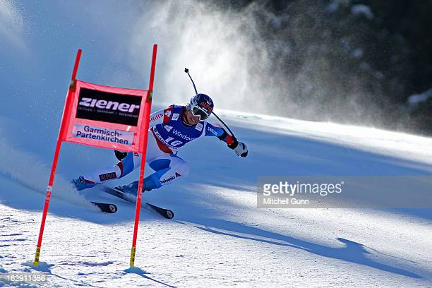 Dominique Gisin of Switzerland races down the course competing in the Audi FIS Ski World Cup Women's SuperG on March 01 2013 in Garmisch...