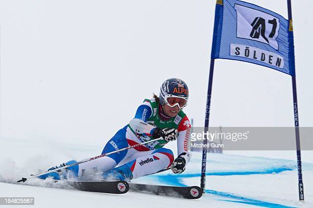 Dominique Gisin of Switzerland races down the course while competing in the women's Giant Slalom at the Audi FIS Alpine Ski World Cup on October 27...