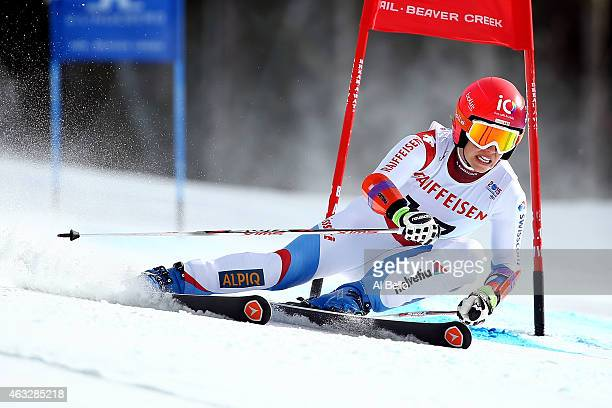 Dominique Gisin of Switzerland races during the Ladies' Giant Slalom on the Raptor racecourse on Day 11 of the 2015 FIS Alpine World Ski...
